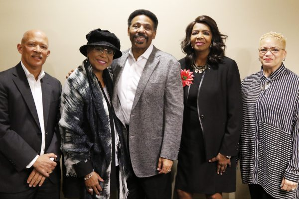 Dr. Tony Evans, Sr. Pastor of Oak Cliff Bible Fellowship church, talks with Dallas County District Attorney Faith Johnson and Ret. Judge John Creuzot about life, faith and politics on Tuesday evening, Oct. 23, 2018 at OCBF church in Dallas. (Irwin Thompson/Staff Photographer)