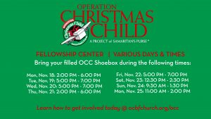Operation Christmas Child drop-off dates