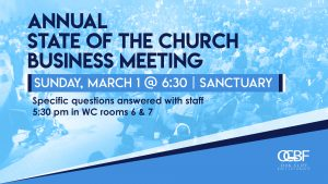 Annual State of the Church Business Meeting March 1, 2020