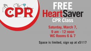 Free HeartSaver CPR Class March 7, 2020
