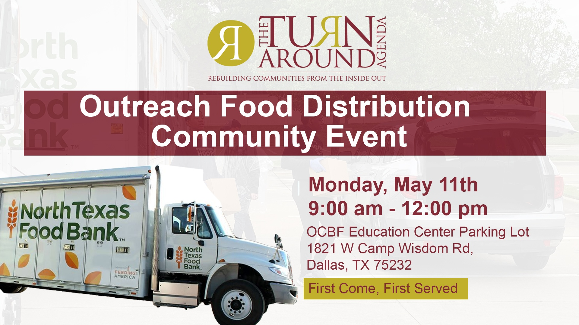 TurnAround Agenda food distribution May 11 at 9 am