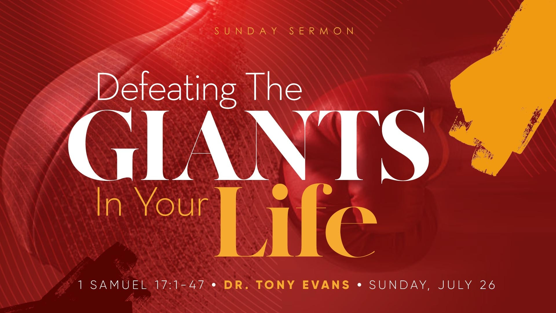 Boxing glove hitting a speed ball punching bag with text Defeating the Giants in Your Life by Dr Tony Evans