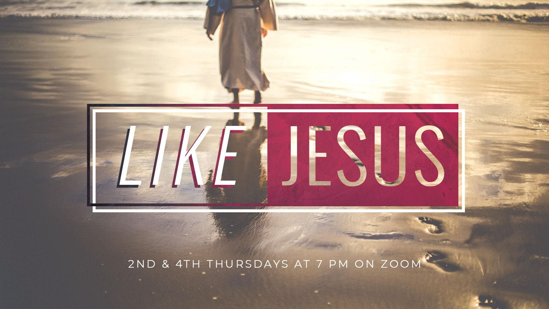 Man walking on beach with text saying Like Jesus